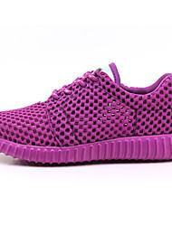Da donna Sneakers Comoda Suole leggere Tulle Primavera Autunno Casual Footing Comoda Suole leggere Lacci Piatto Bianco Nero Viola Rosa