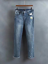 Femme Street Chic Taille Normale strenchy Jeans Pantalon,Large Bandes Fleur Fleur Broderie