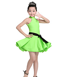 Devrions-nous des robes de danse latine ceinture de nylon pour performances féminines 2 pièces en satin sans manches