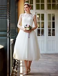 Princesa Ilusão Decote Longuette Renda Tule Vestido de casamento com Botões Caixilhos / Fitas de LAN TING BRIDE®