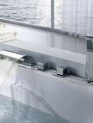 Contemporary Waterfall Spout Handshower Included with  Three Handles Five Holes for  Chrome  Bathtub Mixer Faucet Bathroom Tap