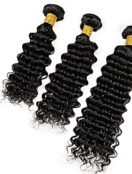 Natural Color Hair Weaves Indian Texture Deep Wave 6 Months 3 Pieces hair weaves