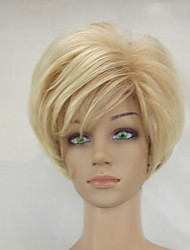 Woman Shag Blonde Mixed Short Layered Synthetic Straight Hair Wig High Temperature Fiber