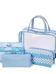 Women Storage Bag PVC All Seasons Casual Baguette Zipper Blue