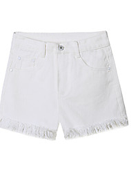 Women's Mid Rise Inelastic Jeans Shorts Pants,Simple Wide Leg Solid