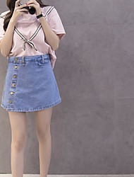 Women's Daily Casual Casual Summer T-shirt Skirt Suits,Striped Color Block Jeans Round Neck Short Sleeve Micro-elastic