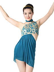 MiDee Ballet Outfits Women's Children's Performance Sequined Lycra Side-Draped Sequins 3 Pieces Sleeveless Natural Top Neckwear