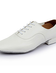 Herren Tanz-Turnschuh Leder Sneakers Professionell Niedriger Heel Weiß Schwarz 5 - 6,8 cm
