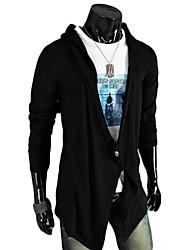 Для мужчин Одежда для спорта и отдыха Активный Длинный Кардиган Однотонный,V-образный вырез Длинный рукав Органическийхлопок Весна Лето
