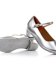 Для женщин Детская обувь для танцев Лакированная кожа На плоской подошве Тренировочные Серебряный