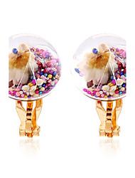 Жен. Застежка серег Клипсы серьги шарика Круг Цветочный принт Мода Rock Multi-Wear способы Радужный бижутерия Резина Бижутерия Назначение