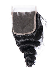 8-20inch Bleached Knots Lace Closure Loose Wave Closure Best Virgin Brazilian Closures  Three Part  Lace Closure