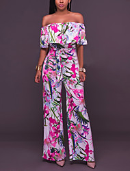 Women's High Rise Work Going out Casual/Daily Jumpsuits Sexy Wide Leg Floral Ruffle Print Flower Boat Neck Summer Fall Rainbow
