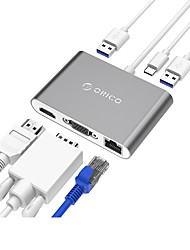 ORICO RCNB HUB USB 3.0 Super Speed 5.0 Gbps 2Ports OTG 0.15mCable with RJ45 HDMI VGA Jack