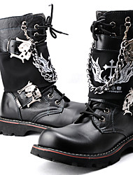 Для мужчин Ботинки Модная обувь Мотоциклетные ботинки Армейские ботинки Искусственное волокно Осень ЗимаПовседневные Для вечеринки /