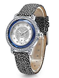 Mulheres Relógio de Moda Quartzo Couro Banda Preta Azul