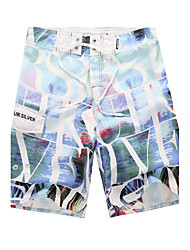Men's Quick-Drying Breathable Bottoms Prints Beach/Swim Shorts Polyester Summer  Black/Red