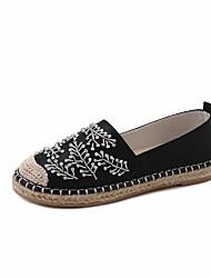 Women's Flats Formal Shoes PU Fall Casual Office & Career Dress Walking Formal Shoes Rhinestone Flat Heel Green Silver Black 1in-1 3/4in