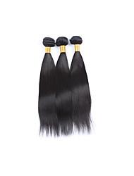 Medium Long Size 3Bundles 300g Brazilian Virgin Human Hair Wefts 130% Density 100% Unprocessed Natural Black Straight Human Hair Weaves/Extensions