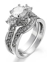 Ring Settings Ring 2 Pcs Luxury Elegant Noble Zircon Geometric Creative Women's  Rhinestone Euramerican Fashion Party Wedding Movie Gift Jewelry