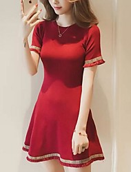 Women's Party Going out Sexy Simple Sheath Dress,Color Block Round Neck Above Knee Short Sleeve Polyester Spring Summer Mid Rise