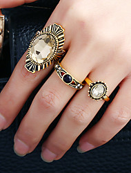 1Set Women's Ring Circular Metal Alloy Rhinestone Alloy Circle Jewelry For Birthday Date Birthday Party