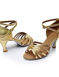 Women's Latin Silk Sandals Indoor Customized Heel Gold Customizable