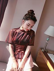 Mujer Empapa la pintura del gel Diario Verano Blusa Pantalón Trajes,Escote Redondo Floral Estampado Manga Corta