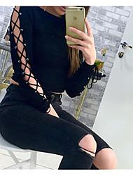 Tee-shirt Femme,Couleur Pleine Sexy Eté Manches Longues Fin