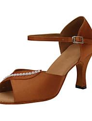 "Women's Latin Silk Sandals Performance Buckle Crystals/Rhinestones Stiletto Heel Brown 3"" - 3 3/4"" Customizable"