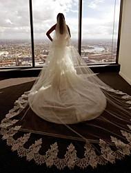 Véus de Noiva Duas Camadas Véu Capela Borda com aplicação de Renda Tule