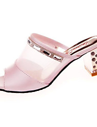 Women's Sandals Comfort Summer PU Walking Shoes Casual Low Heel White Blushing Pink 1in-1 3/4in