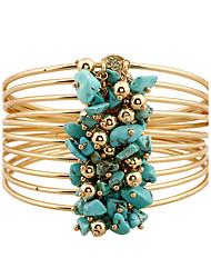 Femme Bracelets Rigides Bracelets Naturel Bohême Style Punk Pierre Alliage de métal Résine Strass Forme de Cercle Bijoux PourRendez-vous