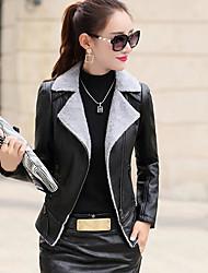 Для женщин На каждый день Зима Кожаные куртки Лацкан с острым углом,Простой Однотонный Обычная Длинный рукав,Полиуретановая