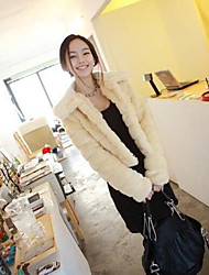 Women's Casual/Daily Simple Winter Fur Coat,Solid Round Neck Long Sleeve Short Others