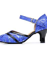 Feminino Latina Couro Pele Outras Peles de Animais Sandálias Tênis Profissional Fivela Salto Robusto Azul 5 - 6,8 cm Personalizável