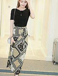 Mujer Moderno / Contemporáneo Diario Verano T-Shirt Falda Trajes,Escote Redondo Estampado Manga Corta