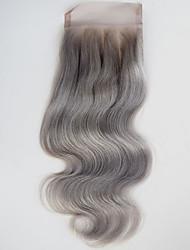 4x4 корпус волна кружево закрытие серый человеческие волосы затворы бесплатная часть средняя часть три части серый закрытие