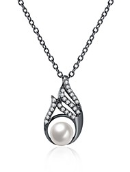 Women's Pendant Necklaces Crystal Cubic Zirconia Imitation Pearl AAA Cubic Zirconia Oval GeometricCrystal Imitation Pearl Zircon Cubic