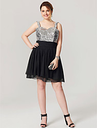 2017 Plus Size Homecoming Dress - Sparkle & Shine Little Black Dress A-line Straps Knee Length Chiffon Sequined with Sash / Ribbon Pleats Sequins