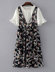 Для женщин На выход Лето Блузка Юбки Костюмы V-образный вырез,Простой Цветочный принт С короткими рукавами