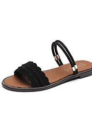 Women's Sandals Comfort Flocking PU Winter Casual Comfort Khaki Black 2in-2 3/4in