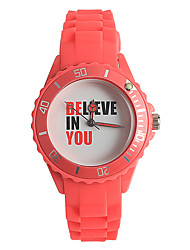 Women's Fashion Watch Japanese Quartz / Silicone Band Casual Red