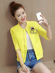 Women's Casual/Daily Casual Spring Summer Jacket,Pattern Stand 3/4-Length Sleeve Regular Cotton