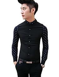 Для мужчин На каждый день Весна Лето Рубашка Рубашечный воротник,Простое Однотонный Длинный рукав,Органическийхлопок,Средняя