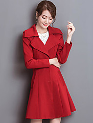 Women's Party Daily Formal Casual Spring Fall Coat,Solid Peter Pan Collar Long Sleeve Long Polyester