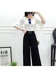 Mujer Sencillo Tiro Medio Inelástica Corte Ancho Chinos Pantalones,Holgado Perneras anchas Un Color Color puro