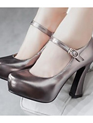 Women's Heels Comfort Nubuck leather PU Spring Casual Comfort Ruby Dark Grey Silver Gold 4in-4 3/4in