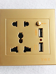 Type 86  USB*2 Power Outlet 2 Bit 3 Bit Switch  Golden