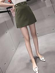 Mujer Casual/Diario Sobre la Rodilla Faldas,Línea A Primavera Un Color